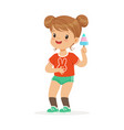 cute little girl character feeling happy with her vector image vector image