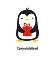 cute penguin isolated on white vector image vector image