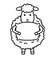 cute sheep with pillow character icon vector image vector image