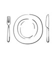 cutlery empty plate knife and fork linear sketch vector image vector image