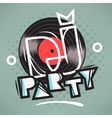 DJ Party Poster Design With Vinyl Record vector image vector image
