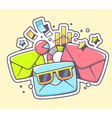 envelopes with sunglasses and financial d vector image