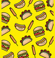 fast food pattern background vector image