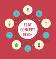 flat icons flying gnome magic and other vector image vector image