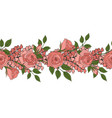 floral seamless border pink romantic roses vector image vector image