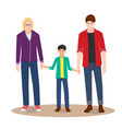 gay couple on a walk with their child vector image vector image
