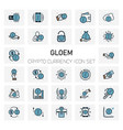 gloem crypto currency icons set vector image
