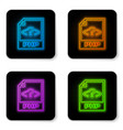 glowing neon php file document icon download php vector image