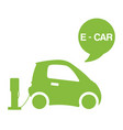 green e-car ecological electromobile concept vector image vector image