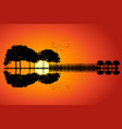guitar island sunset vector image vector image
