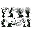halloween trees cartoon hooked trees vector image