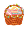 happy easter basket with eggs painted vector image vector image