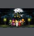 happy kids wearing halloween costume outdoors with vector image vector image