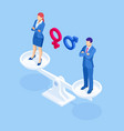 isometric equality for genders a man and woman on vector image