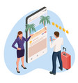 isometric travel and tourism concept buying vector image vector image