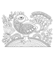line drawing page coloring book bird and flower vector image