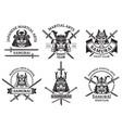 martial asian labels samurai aggressive warrior vector image