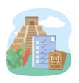 mexican pyramid checklist passport tourist vector image vector image