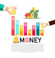 money concept with graph business infographic vector image vector image