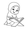 moslem girl reading koran bw vector image vector image
