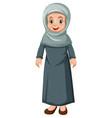 old muslim lady cartoon character vector image