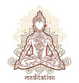 ornamental man in a yoga pose vector image