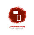phone with message icon - red watercolor circle vector image vector image