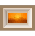 Picture frame with abstract mountain landscape vector image