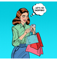 Pop Art Woman with Shopping Bags and Phone vector image vector image