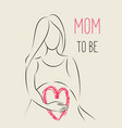 pregnant woman line art with handwritten lettering vector image vector image