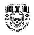 rock n roll emblem with devil skull vector image