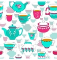 Seamless pattern of the doodle bright cup and pot vector image vector image