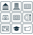 set of 9 school icons includes taped book opened vector image