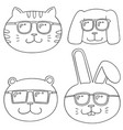 set of animal with sunglasses vector image vector image