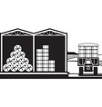 storage of hay bales in farm vector image