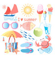 summer set different objects vector image vector image