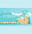 travelling concept with airplane tour buses vector image