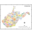 west virginia state outline map in color vector image vector image