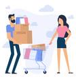young man and woman at shopping vector image vector image