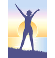 young woman meeting sunrise on hill vector image vector image