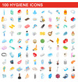 100 hygiene icons set isometric 3d style vector image vector image
