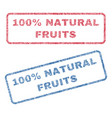 100 percent natural fruits textile stamps vector image