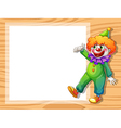 A clown beside an empty white board vector image vector image