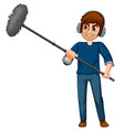 a man holding boom microphone vector image
