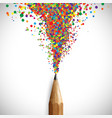 a pencil with colorful shapes vector image vector image