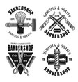 barbershop four emblems in vintage style vector image
