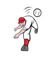 baseball player pitcher throwing ball vector image vector image
