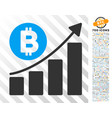 bitcoin bar chart trend flat icon with bonus vector image vector image