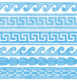 blue greek wave and meander vector image