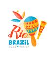 brazil rio logo design bright carnival banner vector image vector image